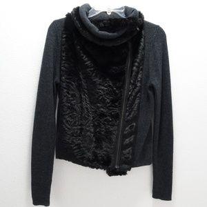 Womens Loft Gray & Black Sweatshirt Moto Zipper Sm